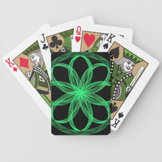 Guilloche Mandala Green and Black Playing Cards