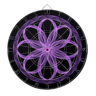 Guilloche Mandala Purple and Black Dartboard