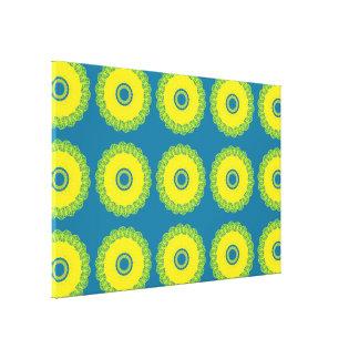 Guilloche Mesh Pattern blue yellow Canvas Print