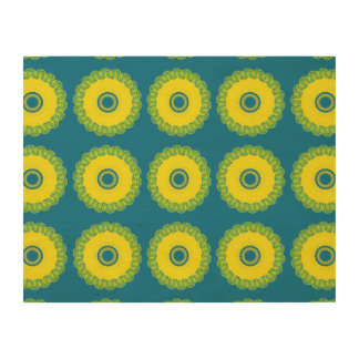 Guilloche Mesh Pattern blue yellow Wood Wall Art