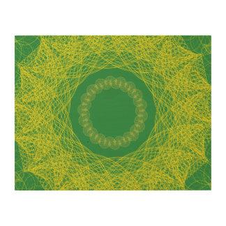Guilloche Mesh Pattern green Wood Wall Art