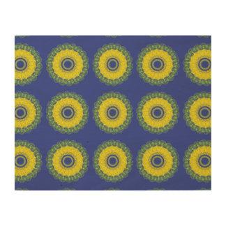 Guilloche Mesh Pattern purple yellow Wood Wall Art