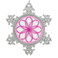 Guilloche Pink Spiral Lacey Design Ornaments