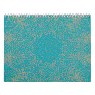 Guilloche Web pink teal Wall Calendars