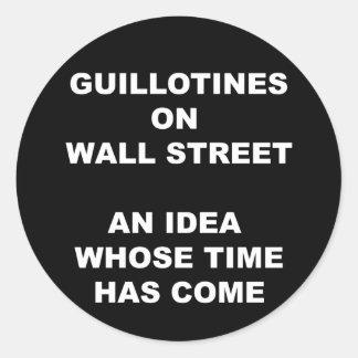 Guillotinas en el pegatina de Wall Street