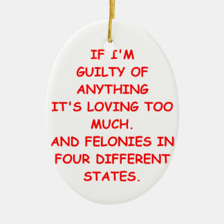 guilty Double-Sided oval ceramic christmas ornament