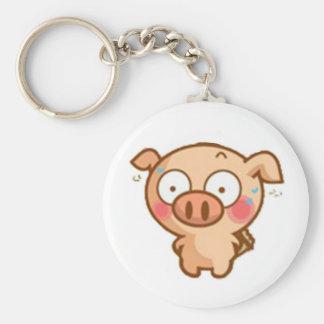Guilty Piggy In Headlights Basic Round Button Keychain