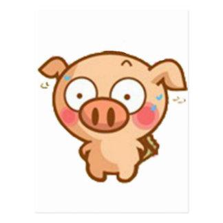 Guilty Piggy In Headlights Postcard