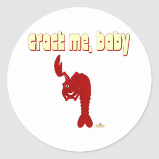 Guiñándome a grieta roja de la langosta, bebé pegatina redonda