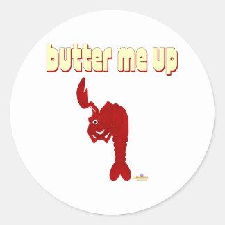 Guiñándome a mantequilla de langosta roja para pegatina redonda