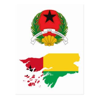 Guiné-Bissau Flag Map GW Postcard