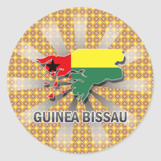 Guinea Bissau Flag Map 2.0 Classic Round Sticker