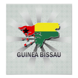 Guinea Bissau Flag Map 2.0 Print