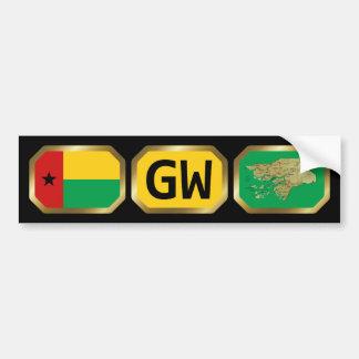 Guinea-Bissau Flag Map Code Bumper Sticker Car Bumper Sticker