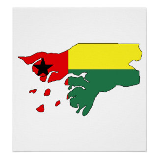 Guinea Bissau Flag Map full size Poster