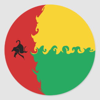 Guinea Bissau Gnarly Flag Classic Round Sticker