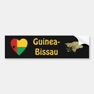Guinea-Bissau Heart Flag + Map Bumper Sticker Car Bumper Sticker