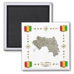 Guinea-Conakry Map + Flags Magnet