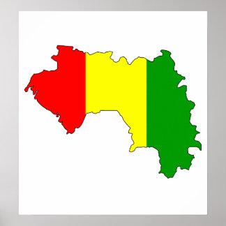 Guinea Flag Map full size Print