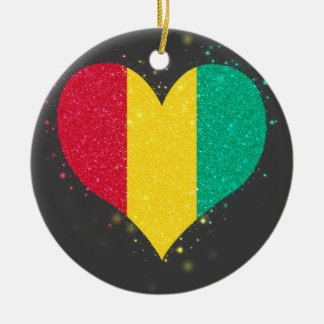 Guinea Flag Shining Unique Double-Sided Ceramic Round Christmas Ornament