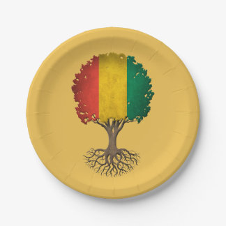 Guinea Flag Tree of Life Customizable 7 Inch Paper Plate