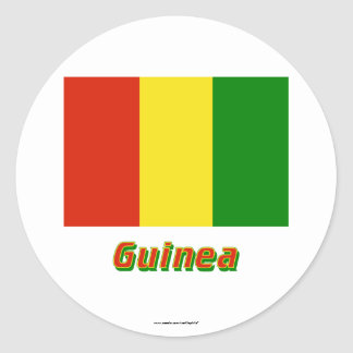 Guinea Flag with Name Round Stickers
