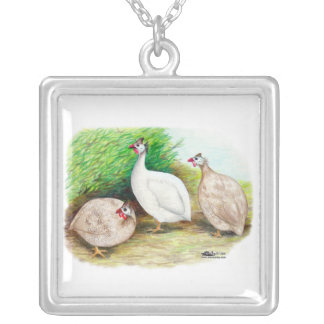 Guinea Fowl Outside Square Pendant Necklace