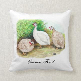 Guinea Fowl Outside Throw Pillow