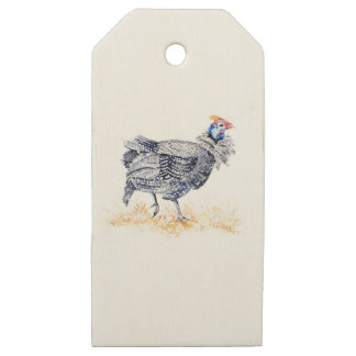 Guinea hen wooden gift tags