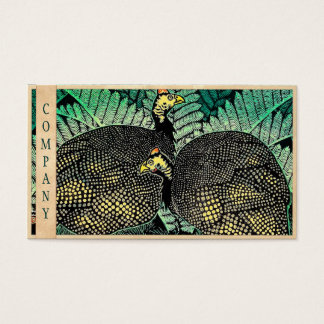 Guinea Hens kasamatsu shiro bird leaf japanese art Business Card