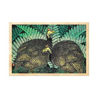 Guinea Hens kasamatsu shiro bird leaf japanese art Canvas Print