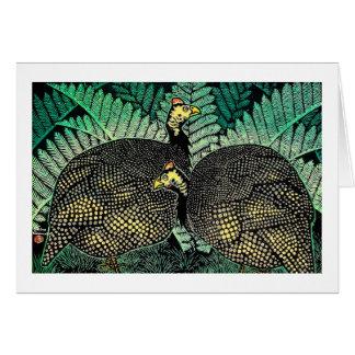 Guinea Hens kasamatsu shiro bird leaf japanese art Card