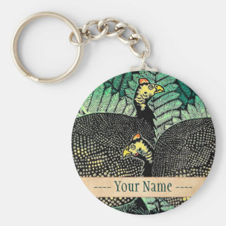 Guinea Hens kasamatsu shiro bird leaf japanese art Key Chains