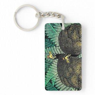 Guinea Hens kasamatsu shiro bird leaf japanese art Acrylic Keychain