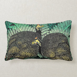 Guinea Hens kasamatsu shiro bird leaf japanese art Lumbar Pillow