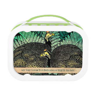 Guinea Hens kasamatsu shiro bird leaf japanese art Lunchbox