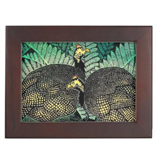 Guinea Hens kasamatsu shiro bird leaf japanese art Memory Box