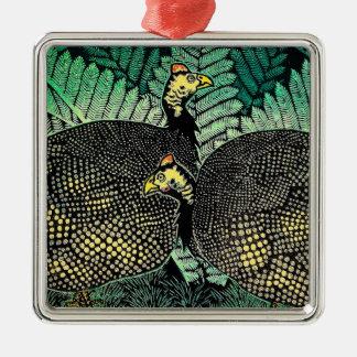 Guinea Hens kasamatsu shiro bird leaf japanese art Metal Ornament