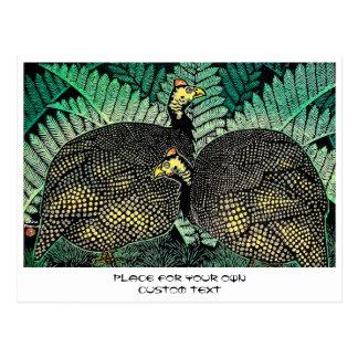 Guinea Hens kasamatsu shiro bird leaf japanese art Postcard