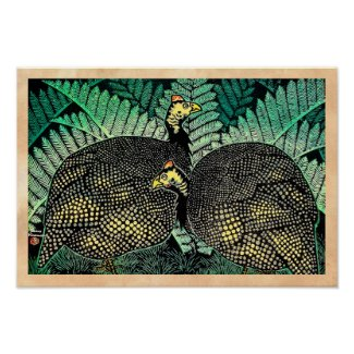 Guinea Hens kasamatsu shiro bird leaf japanese art Print