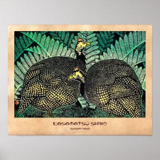 Guinea Hens kasamatsu shiro bird leaf japanese art Poster