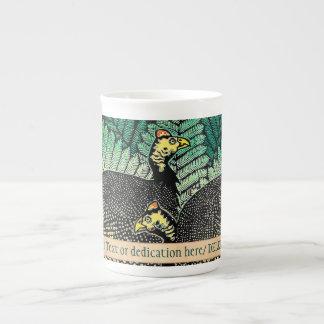 Guinea Hens kasamatsu shiro bird leaf japanese art Tea Cup