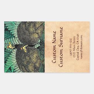 Guinea Hens kasamatsu shiro bird leaf japanese art Rectangular Sticker