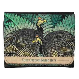 Guinea Hens kasamatsu shiro bird leaf japanese art Tri-fold Wallet