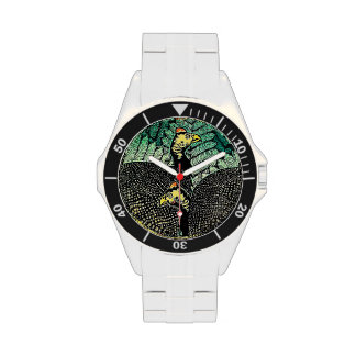Guinea Hens kasamatsu shiro bird leaf japanese art Watches