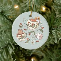 Guinea pig and capybara tea party ceramic ornament
