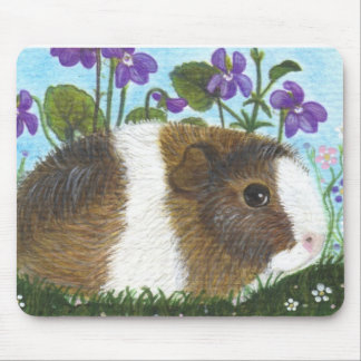 Guinea Pig and Flowers Mouse Pad