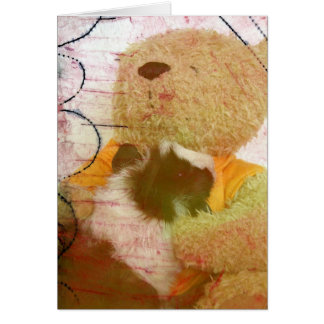 Guinea Pig and Teddy Bear Mixed Media Texture Greeting Card