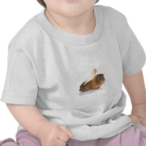 guinea pig and yellow bird t shirt