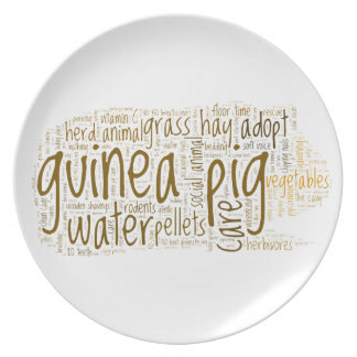 Guinea Pig Care Reminder Word Cloud Dinner Plate